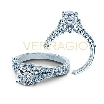Verragio Classic V-910 R7 - 14k White Gold Split Shank Diamond Engagement Ring