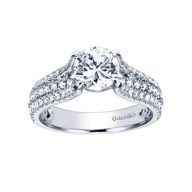 Gabriel NY Chessie 14k White Gold Straight Diamond Engagement Ring by Gabriel NY