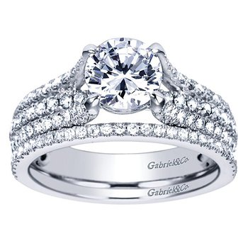 Chessie 14k White Gold Straight Diamond Engagement Ring by Gabriel NY