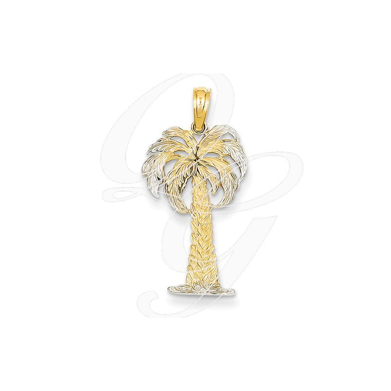 Sealife Jewelry Quality Collection 14k Two Tone Palm Tree Pendant