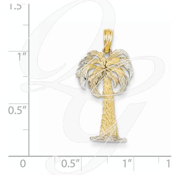 Quality Collection 14k Two Tone Palm Tree Pendant