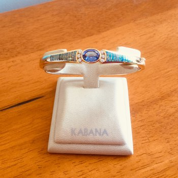 Kabana 14k Yellow Gold Oval Tanzanite, Australian Opal and Diamond Bangle Bracelet