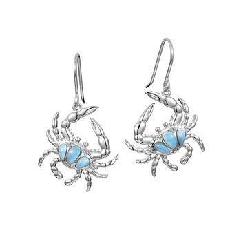 Sterling Silver Larimar Crab Earrings by Alamea