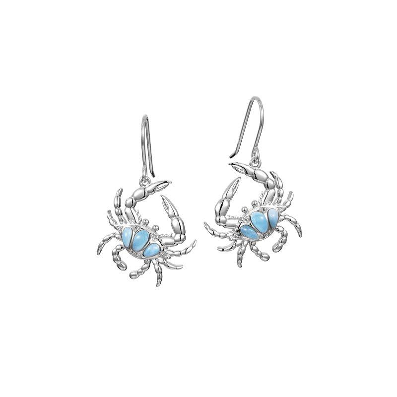 Alamea Larimar  Sterling Silver Larimar Crab Earrings by Alamea
