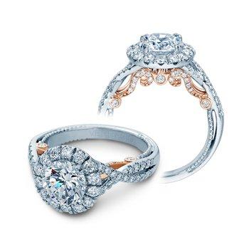 Verragio Insignia-7086R-TT-PLT - Platinum and Rose Gold Round Halo Style Diamond Engagement Ring by Verragio