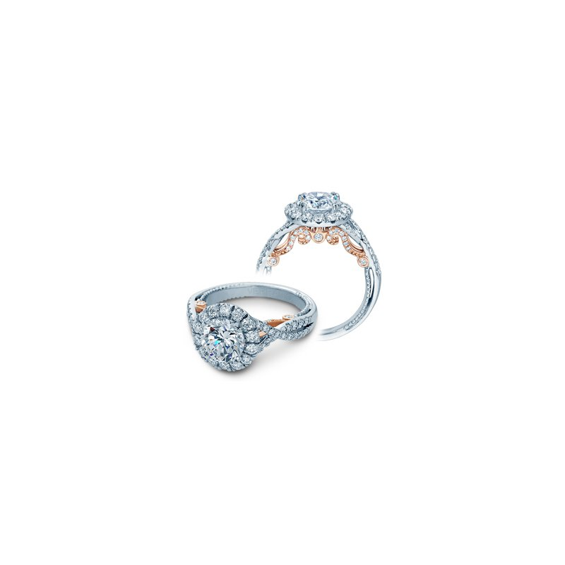 Verragio Verragio Insignia-7086R-TT-PLT - Platinum and Rose Gold Round Halo Style Diamond Engagement Ring by Verragio