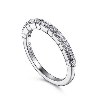 14k White Gold Baguette and Round Brilliant Diamond Band by Gabriel NY