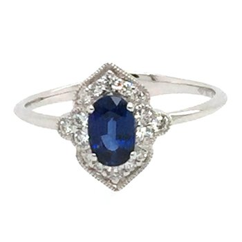 Vintage Style 14k White Gold Oval Sapphire & Diamond Ring