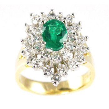 18k Yellow and White Gold Oval Emerald and Diamond Ring - #25602