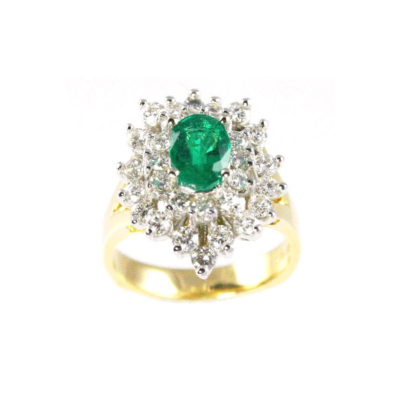 Signature Collection 18k Yellow and White Gold Oval Emerald and Diamond Ring - #25602