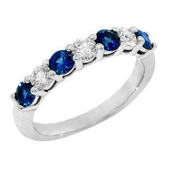 Ladies 14k White Gold Round Sapphire and Diamond Ring - #37150