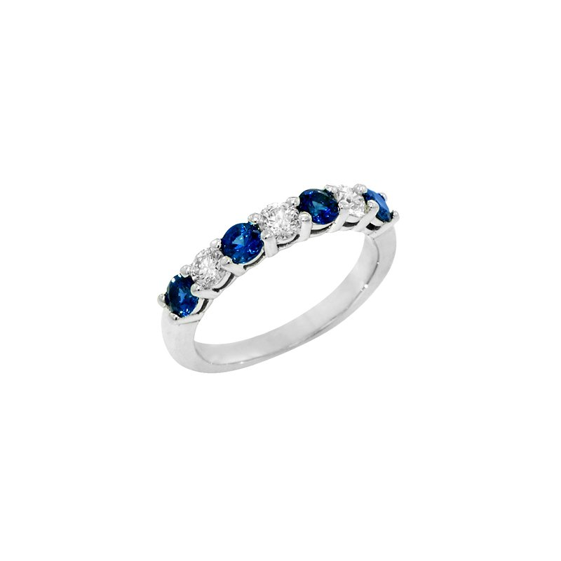Signature Collection Ladies 14k White Gold Round Sapphire and Diamond Ring - #37150
