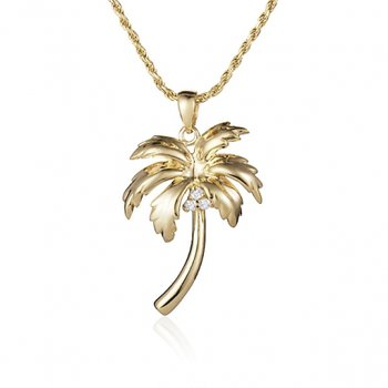 Alamea 14k Yellow Gold Diamond Palm Tree Pendant