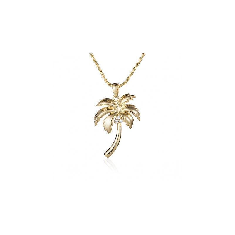 Sealife Jewelry Alamea 14k Yellow Gold Diamond Palm Tree Pendant