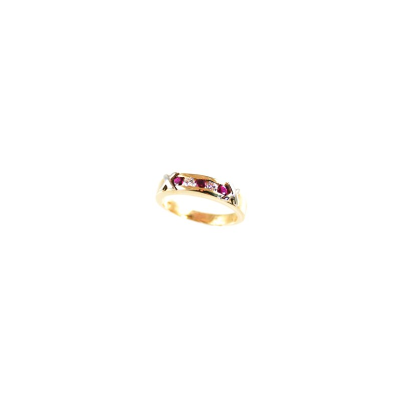 Signature Collection Genuine Ruby and Diamond Ring in 14k Yellow & White Gold