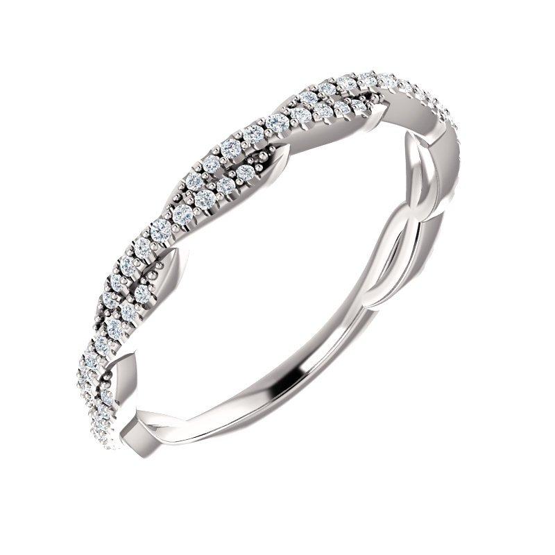 Signature Collection Twist Diamond Band in 14k White Gold with Round Brilliant Diamonds