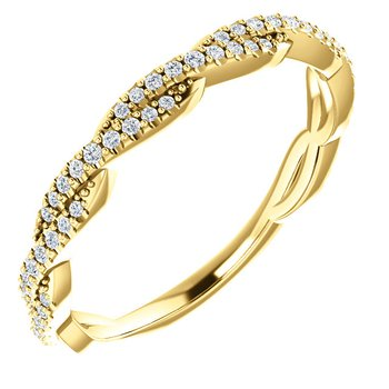 Twist Diamond Band in 14k White Gold with Round Brilliant Diamonds