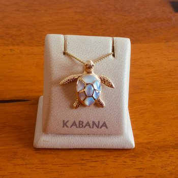 14k Yellow Gold Sea Turtle Pendant by Kabana with White Mother of Pearl