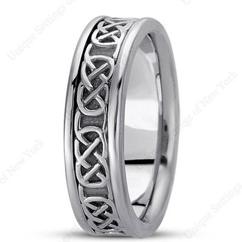 Unique Settings - HM221 - 14k White Gold Handmade Celtic Design 6mm Men's Wedding Band