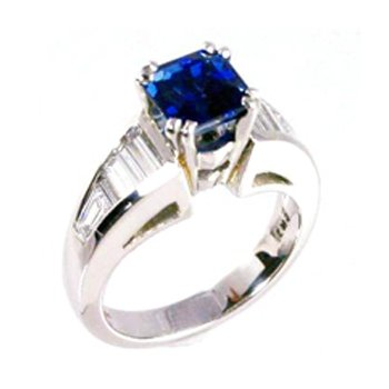 Genuine Blue Sapphire and Diamond Ring in Platinum - 31620