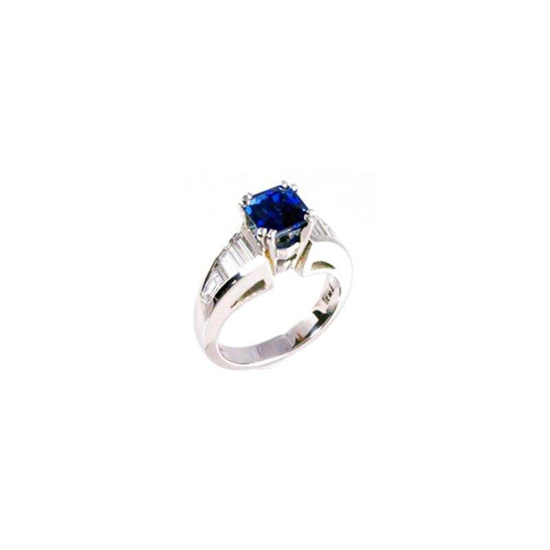Signature Collection Genuine Blue Sapphire and Diamond Ring in Platinum - 31620