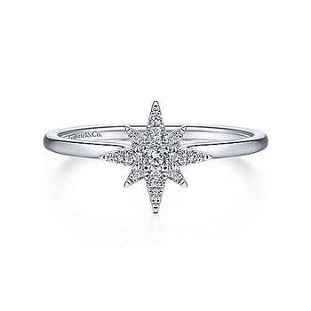 14k White Gold Star Diamond Ring by Gabriel NY