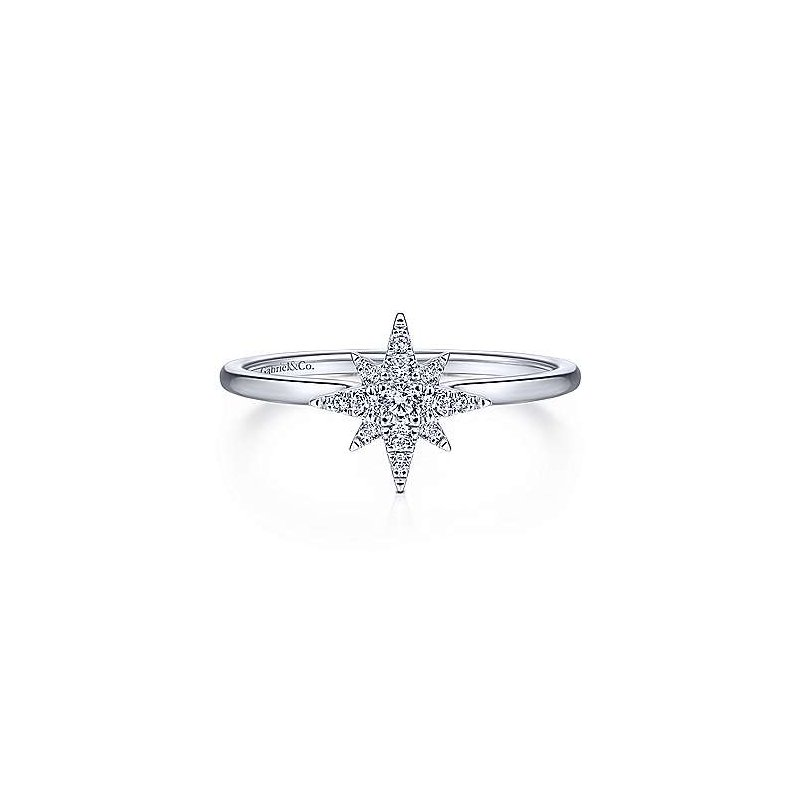 Signature Collection 14k White Gold Star Diamond Ring by Gabriel NY