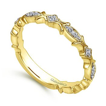 14k Yellow Gold Diamond Textured Band by Gabriel NY