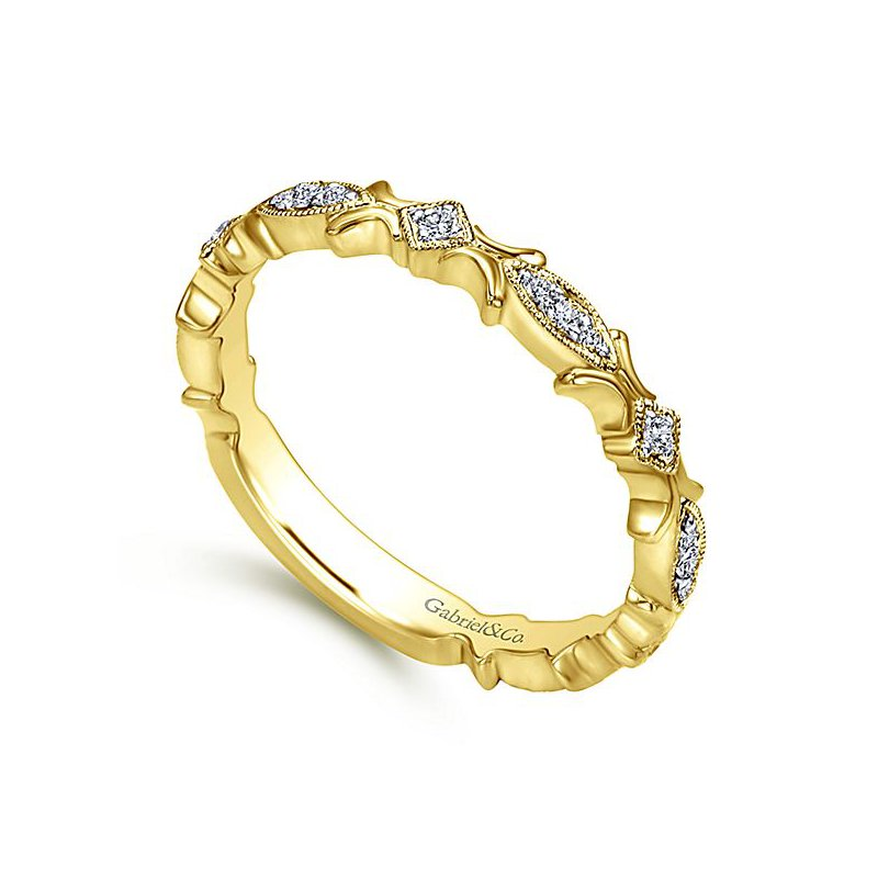 Signature Collection 14k Yellow Gold Diamond Textured Band by Gabriel NY