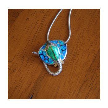 Sterling Silver and 18k Gold Plated Manta Ray Pendant with Kyocera Lab Created Synthetic Opal.