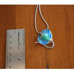 Kovel Sealife Sterling Silver and 18k Gold Plated Manta Ray Pendant with Kyocera Lab Created Synthetic Opal.