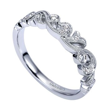 14k White Gold Fancy Swirl Wedding or Anniversary Ring by Gabriel NY - Style #AN7637W