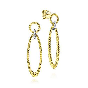 14k Yellow & White Gold Twisted Rope Earrings with Diamonds