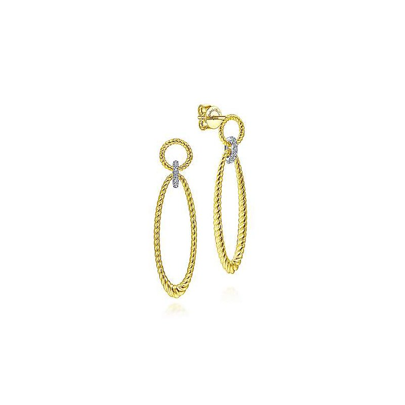 Signature Collection 14k Yellow & White Gold Twisted Rope Earrings with Diamonds