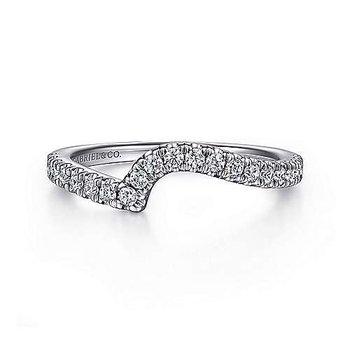 14k White Gold Contoured Diamond Wedding Ring by Gabriel NY