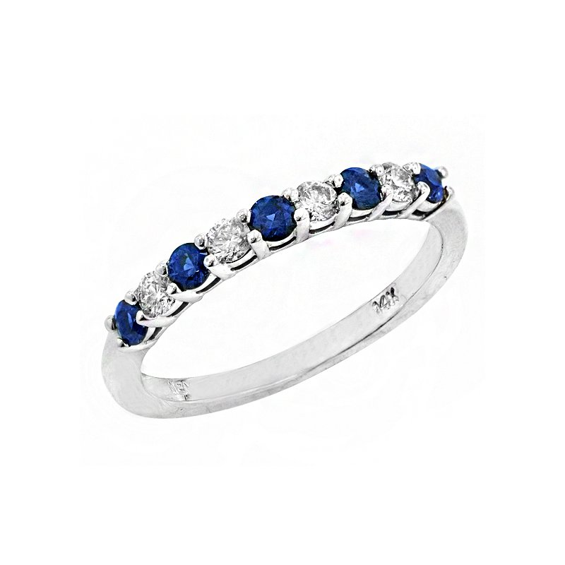 Signature Collection 14k White Gold Sapphire and Diamond Ring #37836
