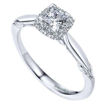 Adore Collection Halo Solitaire Engagement Ring by Gabriel NY