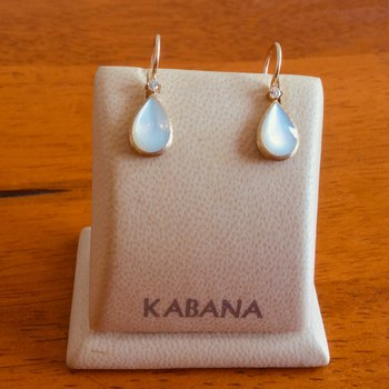 14k Yellow Gold Teardrop Earrings by Kabana with White Mother of Pearl and Diamond