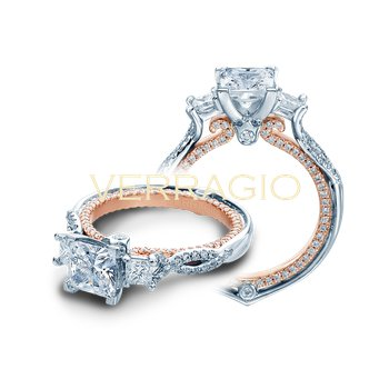 Verragio Couture 0423DP-2T - 18k White Gold 3-Stone Princess Cut Diamond Engagement Ring by Verragio