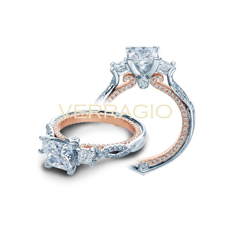 Verragio Verragio Couture 0423DP-2T - 18k White Gold 3-Stone Princess Cut Diamond Engagement Ring by Verragio