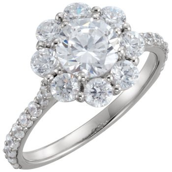 14k White Gold Round Flower Halo Engagement Ring - #40429