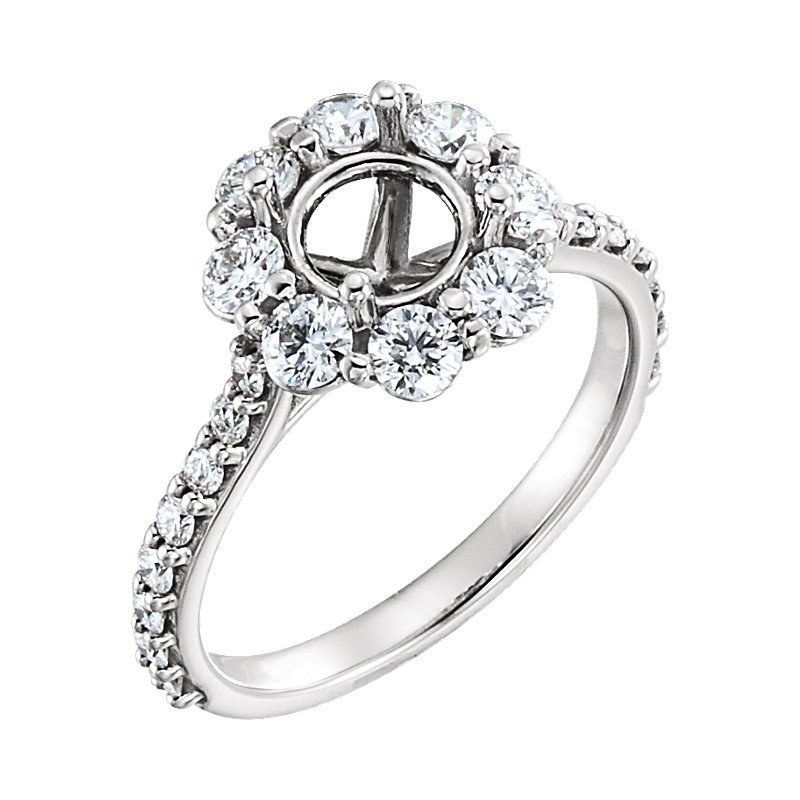 Signature Collection 14k White Gold Round Flower Halo Engagement Ring - #40429