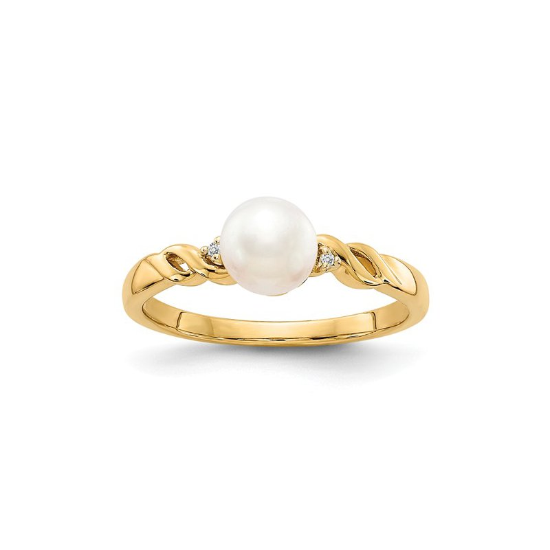 Signature Collection 14k Yellow Gold 6mm Freshwater Pearl and Diamond Ring