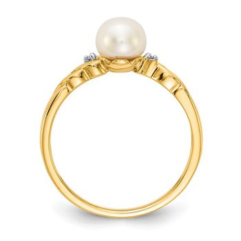 14k Yellow Gold 6mm Freshwater Pearl and Diamond Ring