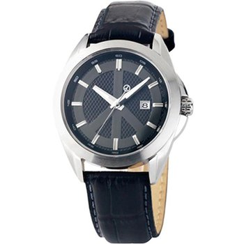 Gents Peace Movement Watch with Black Leather Strap
