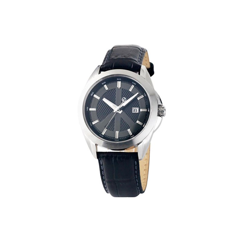 Swiss Watches Gents Peace Movement Watch with Black Leather Strap