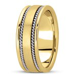 Unique Settings Unique Settings HM250 - W - Y - 14k White and Yellow Gold Handmade Handwoven 8mm Men's Wedding Band