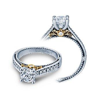 Verragio Venetian 5044 - 14k White and Rose Gold Round Brilliant Diamond Engagement Ring by Verragio