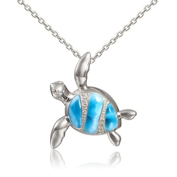 Sterling Silver Larimar Turtle Pendant with Cubic Zirconia