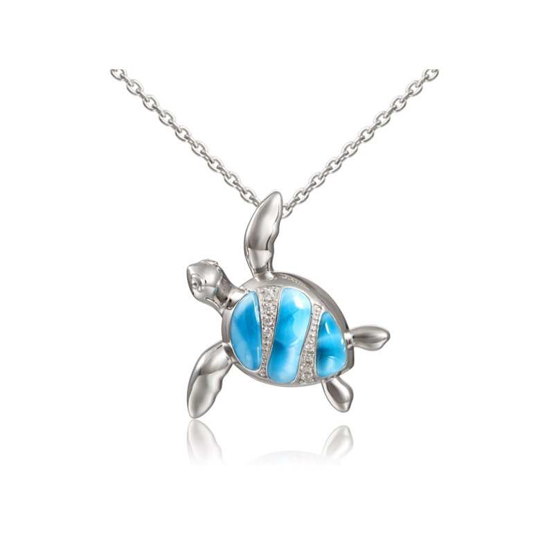 Sealife Jewelry Sterling Silver Larimar Turtle Pendant with Cubic Zirconia
